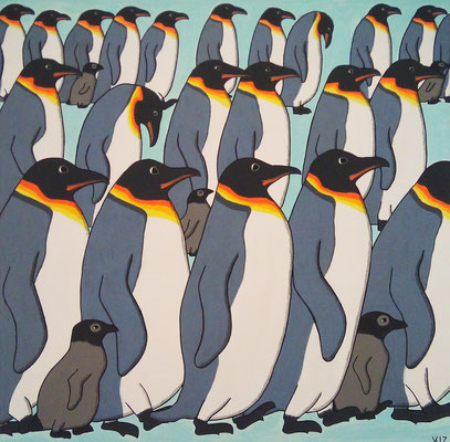 Pinguine gehen - Dieses Acrylgemälde zeigt einen Marsch von Pinguinen.