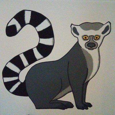 Lemur - Ein Lemur mit typisch geringeltem Schwanz