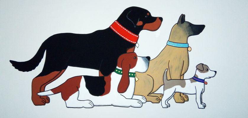 Vier Hunde mit Halsbändern - Auf diesem Acrylgemälde sind vier verschiedene Hunde zu sehen. Jedes Halsband hat einen besonderen Glanz von Gold, Silber, Bronze und Kupfer.