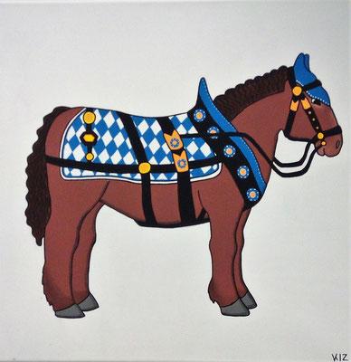 Das bayerische Kaltblut - Dieses Gemälde zeigt ein Kaltblut mit typisch bayerischen Geschirr