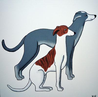 Zwei Whippets - Auf diesem Acrylgemälde sind zwei Wippets zu sehen. Diese Hunderasse ist für ihre Schnelligkeit und Eleganz berühmt.