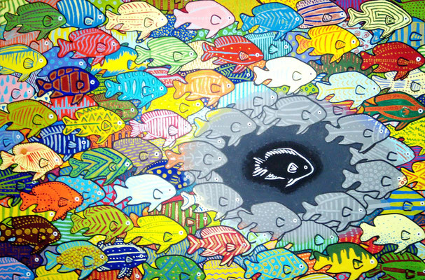 Einer fehlt - Dieses Acrylgemälde zeigt was passiert, wenn plötzlich einer aus der Mitte gerissen wird. Je weiter weg die Fische sind, desto weniger nehmen sie davon Notiz, je näher sie jedoch dran sind desto mehr beeinflusst es ihre Welt.