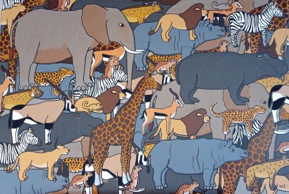 Das Bild zeigt die Tiere Afrikas wie Elefant, Giraffe, Löwe und Co. Jedes Tier ist mindestens 4x zum Teil in Ausschnitten auf dem Bild zu erkennen.