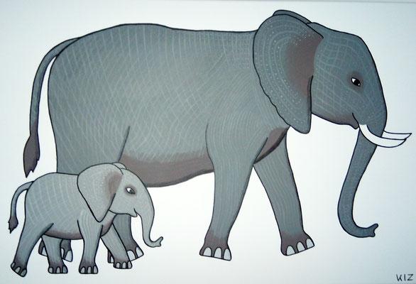 Afrikanische Elefanten mit Verzierung - Auf diesem Gemälde sind zwei Elefanten zu sehen. Die Tiere haben auf ihrer grauen Haut noch weiße Muster und Verzierungen