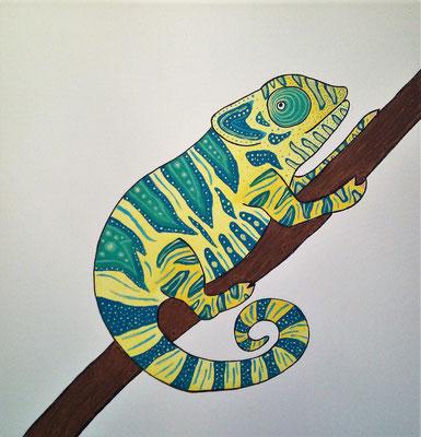 Chamäleon auf Ast - Auf diesen Acrylgemälde befindet sich ein gelbes Chamäleon mit blauen und grünen Farbschattierungen.