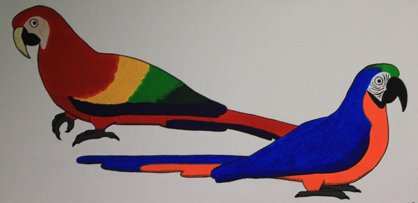 Zwei Aras - Auf diesen Acrylgemälde sind zwei Aras zu sehen. Ein roter Ara und ein blauer Ara.