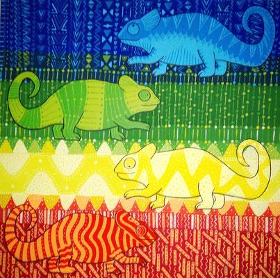 Vier Chamäleons - Die vier Chamäleons haben vier verschiedene Farben. Im Übergang vermischen sich die Farben und die Muster.