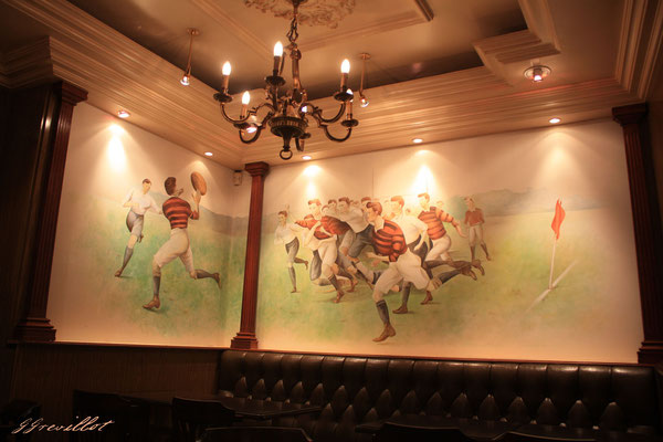 Fresque rugby rétro-brasserie