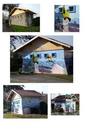 """Décor mural """"les sports d'hiver"""" dans le cadre de la candidature de la ville d'Annecy pour les J.O d'hiver"""