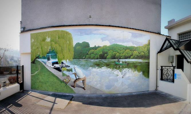 """Fresque """"le peintre et les bords de Marne""""- façade- St Maur des Fossés"""