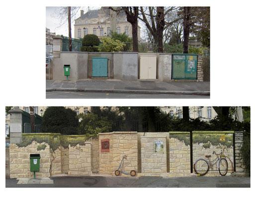 Avant après trompe l'oeil fausse pierre sur mur et édicules technique municipal- Le Perreux sur Marne
