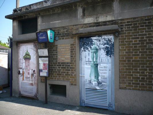 """Illustration peinte sur édicule technique""""le vieux Paris""""- Drancy"""