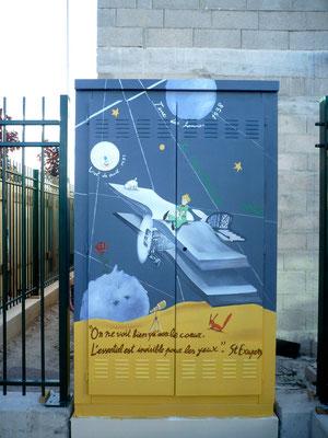 """Illustration peinte sur édicule technique""""Le Petit Prince """"- Drancy"""