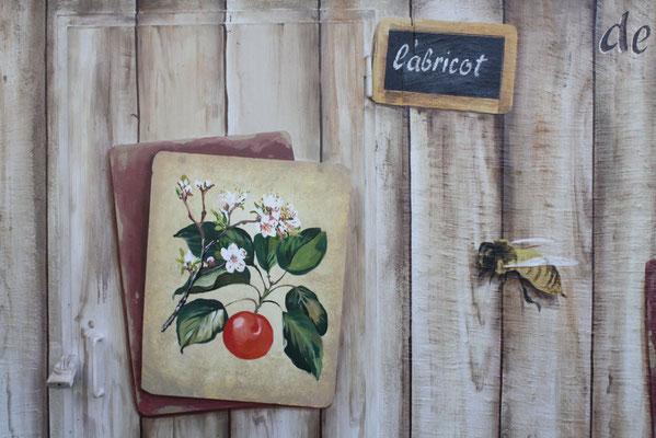 Trompe l'oeil faux bois- planche botanique