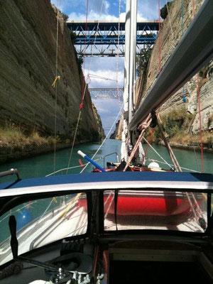 Unter Maschine im Kanal von Korinth.