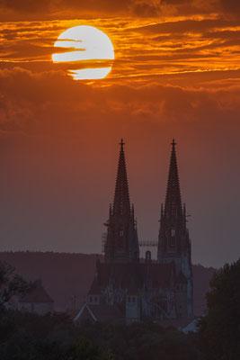 Regensburger Dom, Sonnenuntergang.