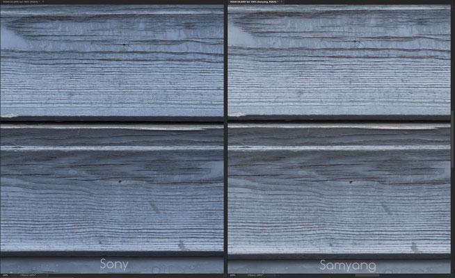 Samyang AF 85mm 1.4 FE vs. Sony 85mm 1.4 GM, Schärfe Crop Mitte @f/1.4