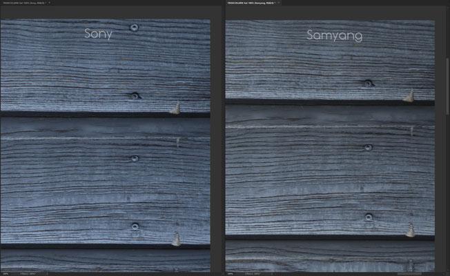 Samyang AF 85mm 1.4 FE vs. Sony 85mm 1.4 GM, Schärfe Crop Ecke 2 @f/1.4