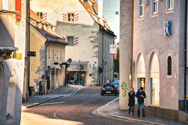 Regensburg Goldene-Bären-Strasse, Weiße-Lamm-Gasse wie gemalt