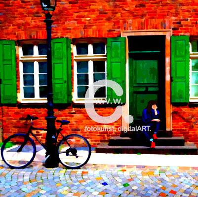 Fotokunst-Gemälde, Caro von Wolmar, www.carokunst.com, signierte, limitierte Fotokunst kaufen, Fotografie, Düsseldorf, Fahrrad, Alu-Dibond, Streetfotography, rot, grün, Galerie, Lumas, Whitewall