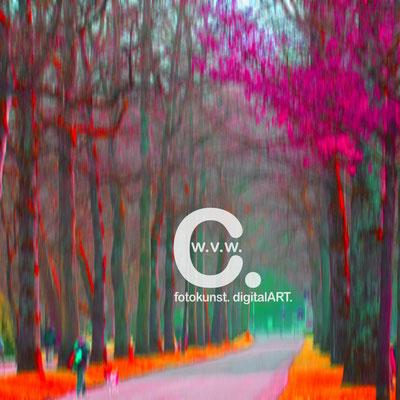 Fotokunst-Gemälde, Caro von Wolmar, www.carokunst.com, signierte, limitierte Fotokunst kaufen, Fotografie, Baden Baden Park, Hund, Alu-Dibond, Streetfotography, rot, grün, Galerie, Lumas, Whitewall
