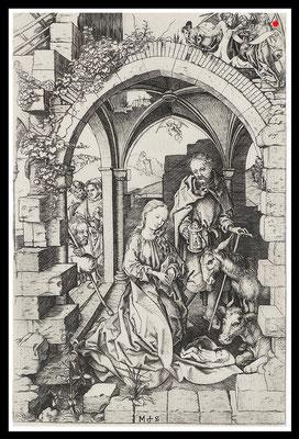 """Martin Schongauer, 1430-1491, """"La nativite"""",  16,5cm x 25,1 cm, Kupferstich auf Bütten - VERKAUFT"""