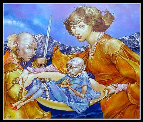 """""""Das unzufriedene Prinzesschen auf einem verschämten Spaziergang zum Schindanger""""  60x50cm, Öl/Hartfaser, 2011 - Preis auf Anfrage"""