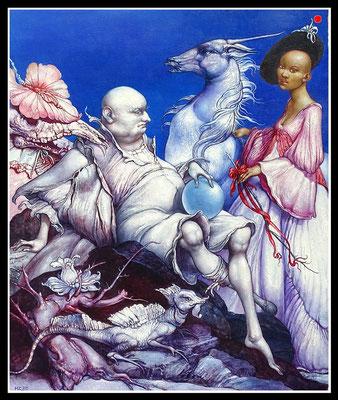 """""""John Silver feiert das Begräbnis der Sardine""""   60x50cm, Öl/MP, 1995 -  VERKAUFT"""