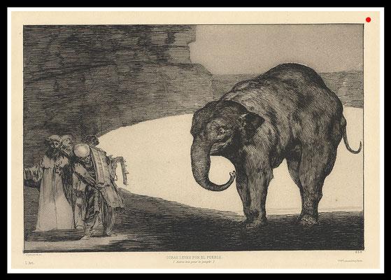 """""""Otras leyes por el pueblo"""" Francisco de Goya, um 1618-1624, 30,4cm x 40,6cm, Aquatinta auf Bütten - VERKAUFT"""