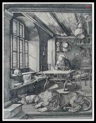 """""""Der heilige Hieronymus im Gehäus"""", Albrecht Dürer 1514, Meder 59c, Kupferstich 24,5cm x 18,7cm - VERKAUFT"""