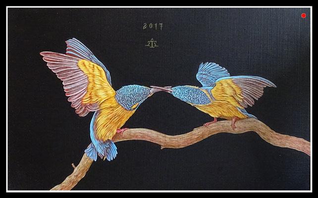 """""""Eisvögel""""   25x40cm, Mischtechnik/Malplatte, 2017 -  VERKAUFT"""