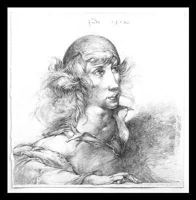 """""""Mädchenportrait"""" 34x33cm, Graphit auf Bütten, 1982, - 1.000 EUR"""