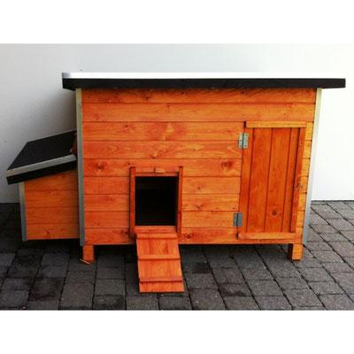 Poulailler - En bois traité pour 6 à 8 poules et pour 8 à 10 poules  -  101 x 65 x 80 H + pondoir 50 x 30 cm - 112 x 75 x 90 H + pondoir 60 x 30 cm