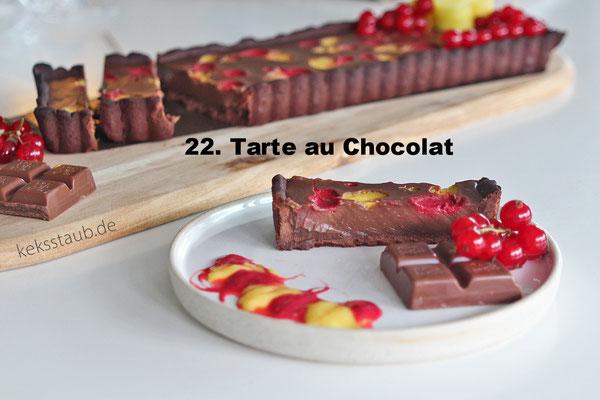 Tarte au Chocolat mit Johannisbeeren und Mango von Keksstaub