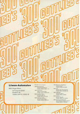 """deutscher Flyer """"300"""" von Gottlieb"""