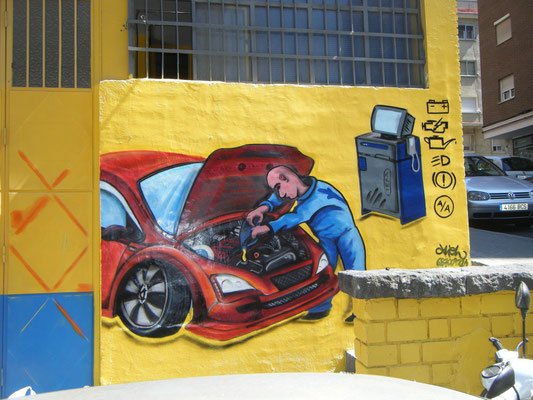 madrid graffiti de coche