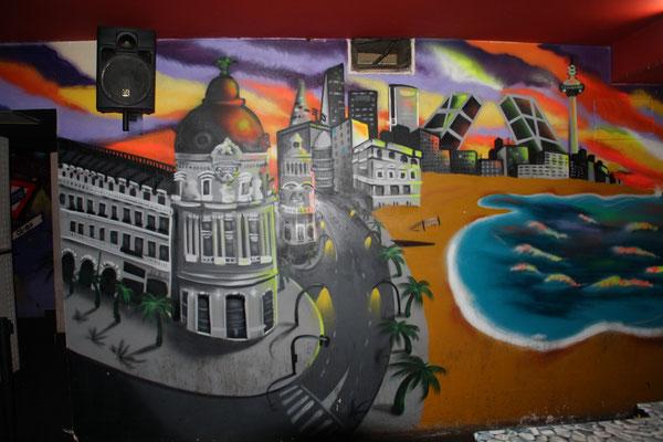gran via pintada por grafitero