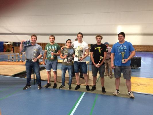 Siegerehrung Tageswertung Männer (Platz 5 Ritzer Armin - KSC Bad Häring/Kufstein)