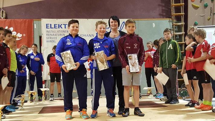 Siegerehrung Gesamtwertung mit Barth Florian & Schneider Hannes (KSV-RUM)