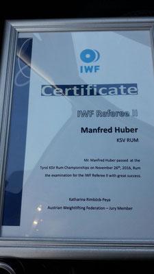 IWF-Urkunde Huber Manfred