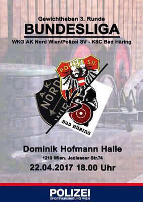 Plakat Bundesligawettkampf WKG AK Nord Wien/Polizei SV - KSC Bad Häring/Kufstein