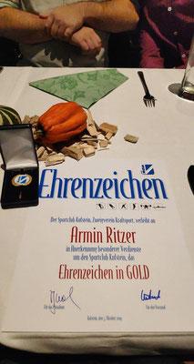 Ehrenzeichen in Gold für Ritzer Armin (KSC Bad Häring/Kufstein)