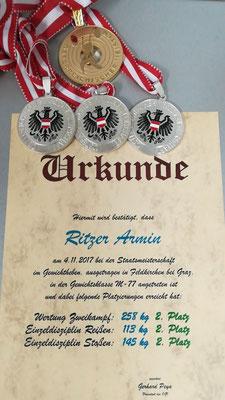 Ritzer Armin (KSC Bad Häring/Kufstein) (Urkunde & Medaillen)