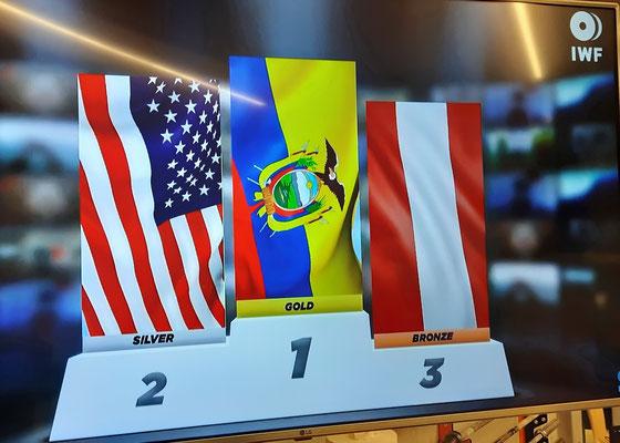 Siegerehrung U17-WM Kategorie -76,00 kg