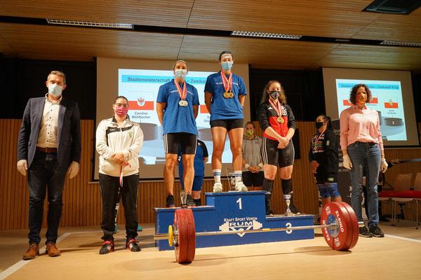 Siegerehrung Kategorie -81,00 kg mit Norz Tamara & Mühlbacher Caroline