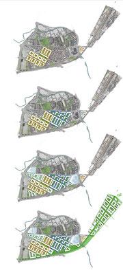 Städtebauliche Machbarkeitsstudien Reutlingen, Bauabschnitte