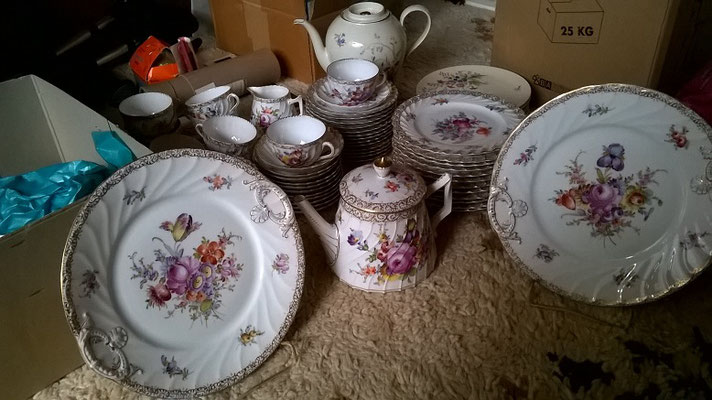 Hand-painted china, ready to be packed up and moved