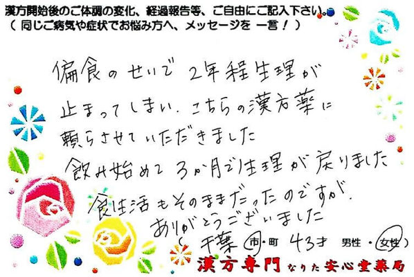 【 続発性無月経・摂食障害・逆流性食道炎 】(千葉市・43才・女性)