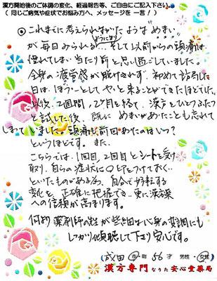 【 頭痛・高血圧・めまい 】(成田市・56才・女性)