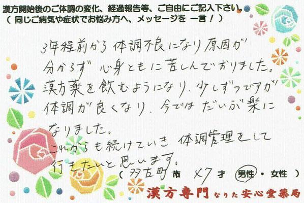 【 男性更年期・自律神経失調 】(多古町・47才・男性)